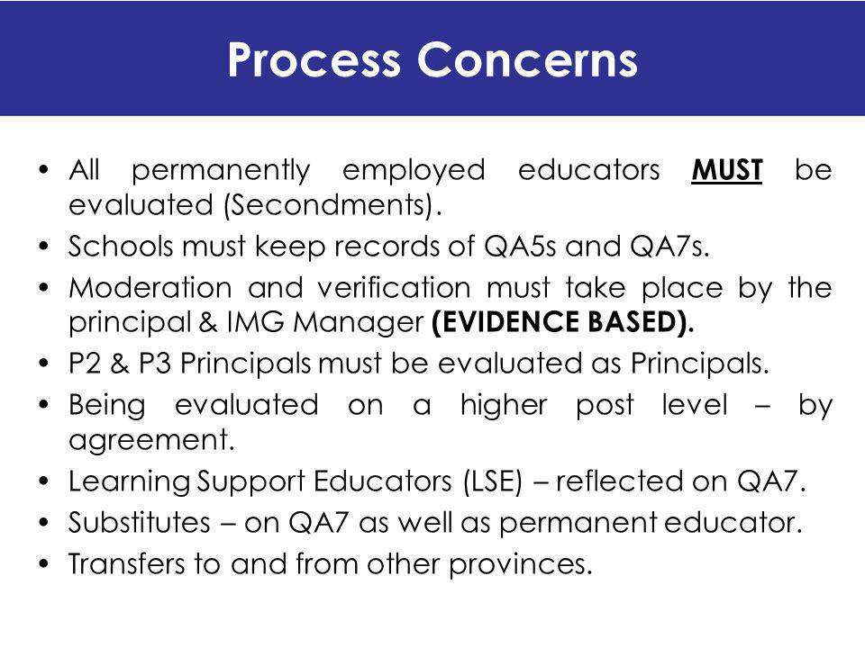 Process Concerns All permanently employed educators MUST be evaluated (Secondments). Schools must keep records of QA5s and QA7s.