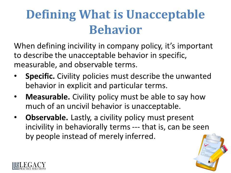 Defining What is Unacceptable Behavior