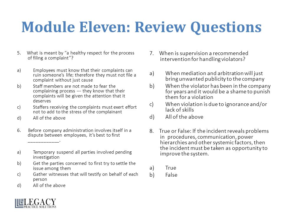 Module Eleven: Review Questions