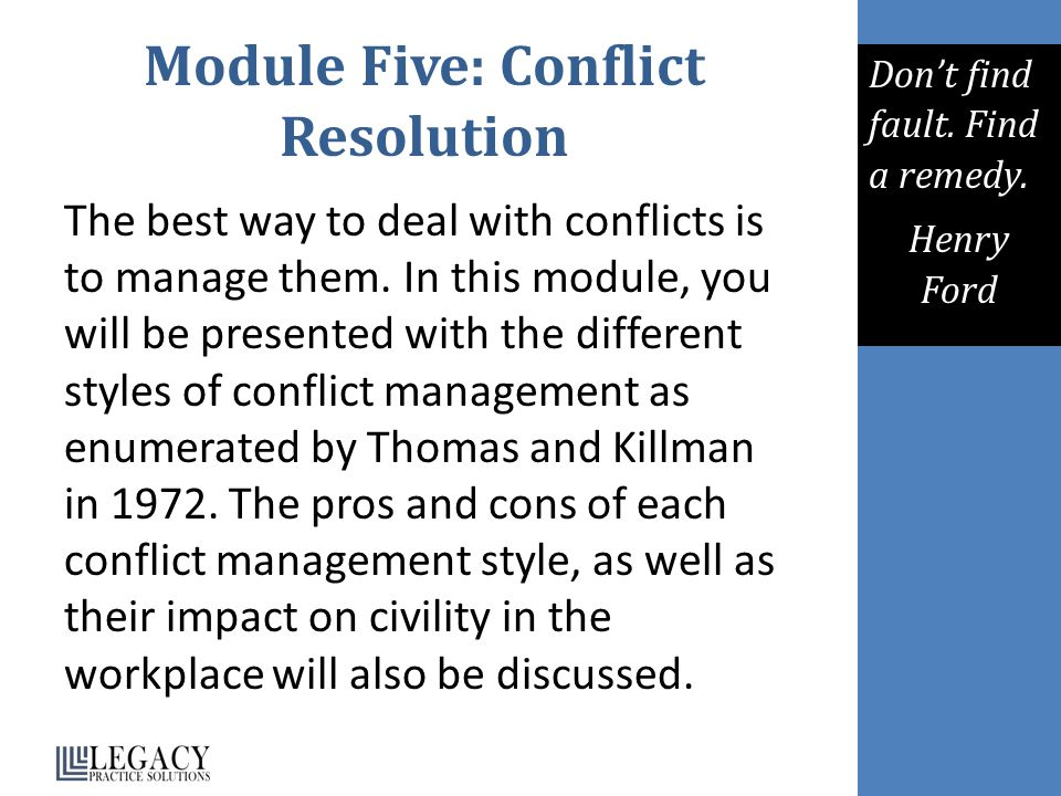 Module Five: Conflict Resolution
