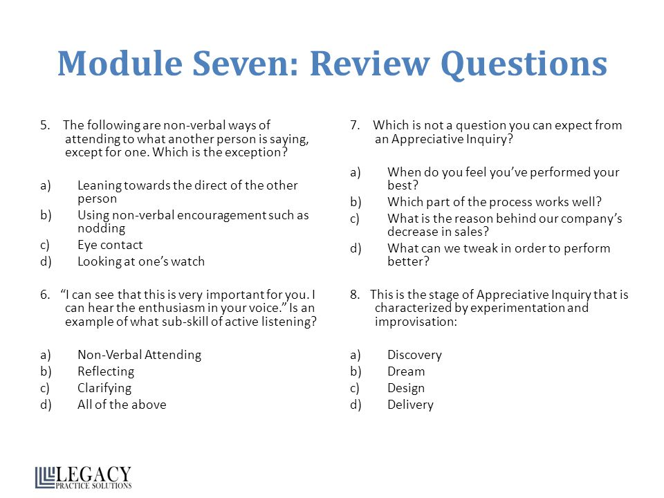 Module Seven: Review Questions