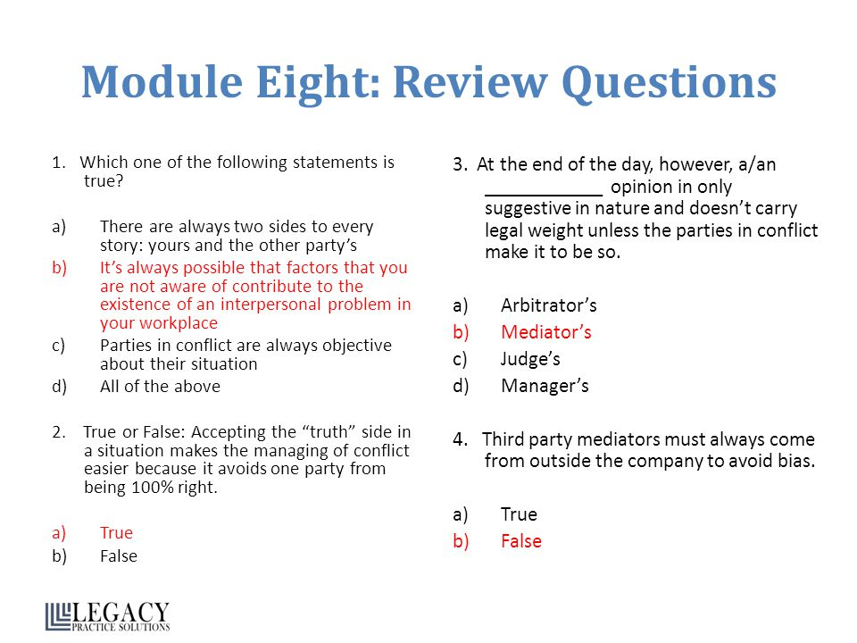 Module Eight: Review Questions