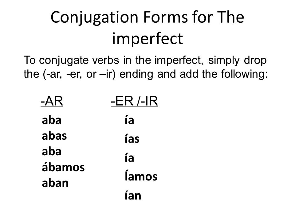 Conjugation Forms for The imperfect