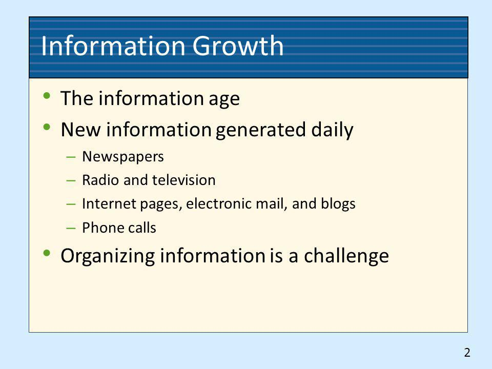 Information Growth The information age New information generated daily