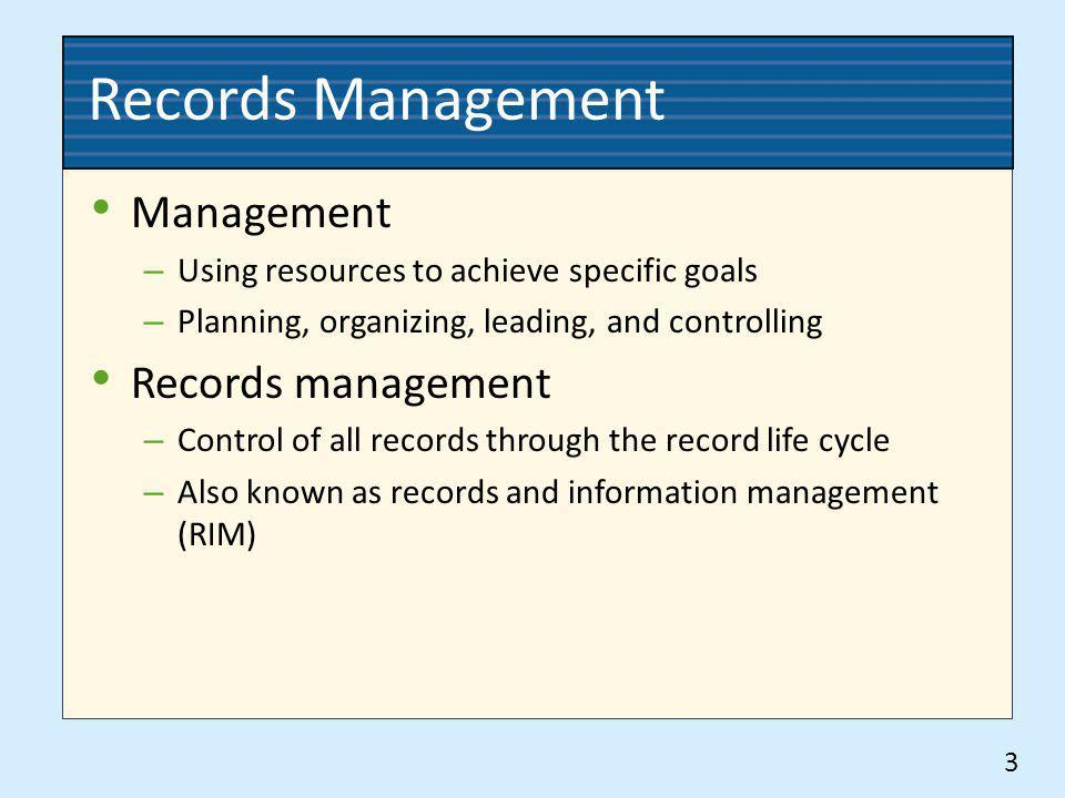 Records Management Management Records management
