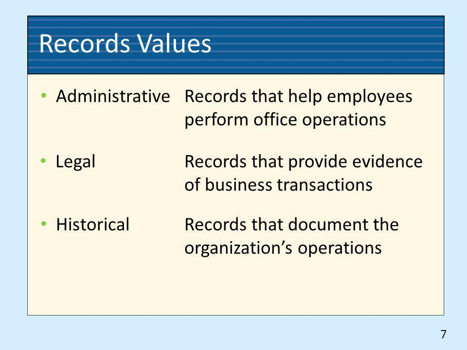 Records Values Administrative