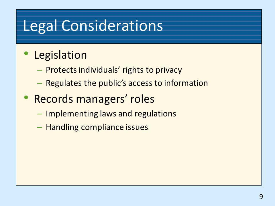 Legal Considerations Legislation Records managers' roles