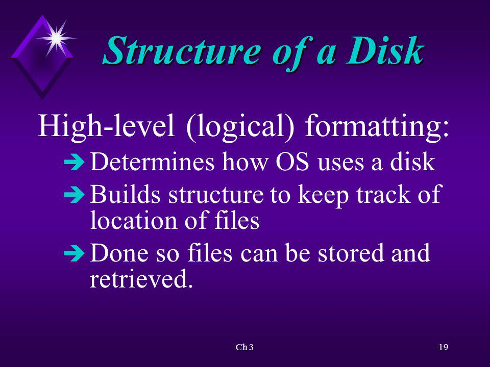 Structure of a Disk High-level (logical) formatting: