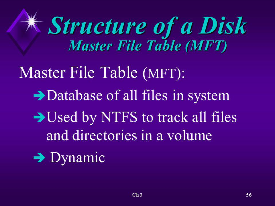 Structure of a Disk Master File Table (MFT)