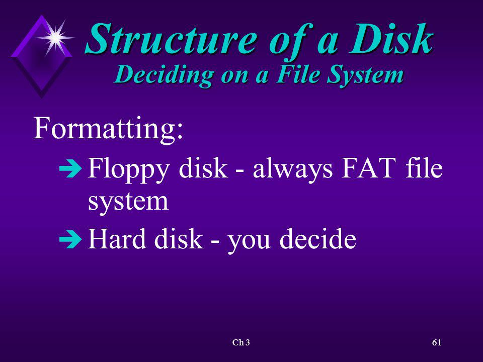 Structure of a Disk Deciding on a File System