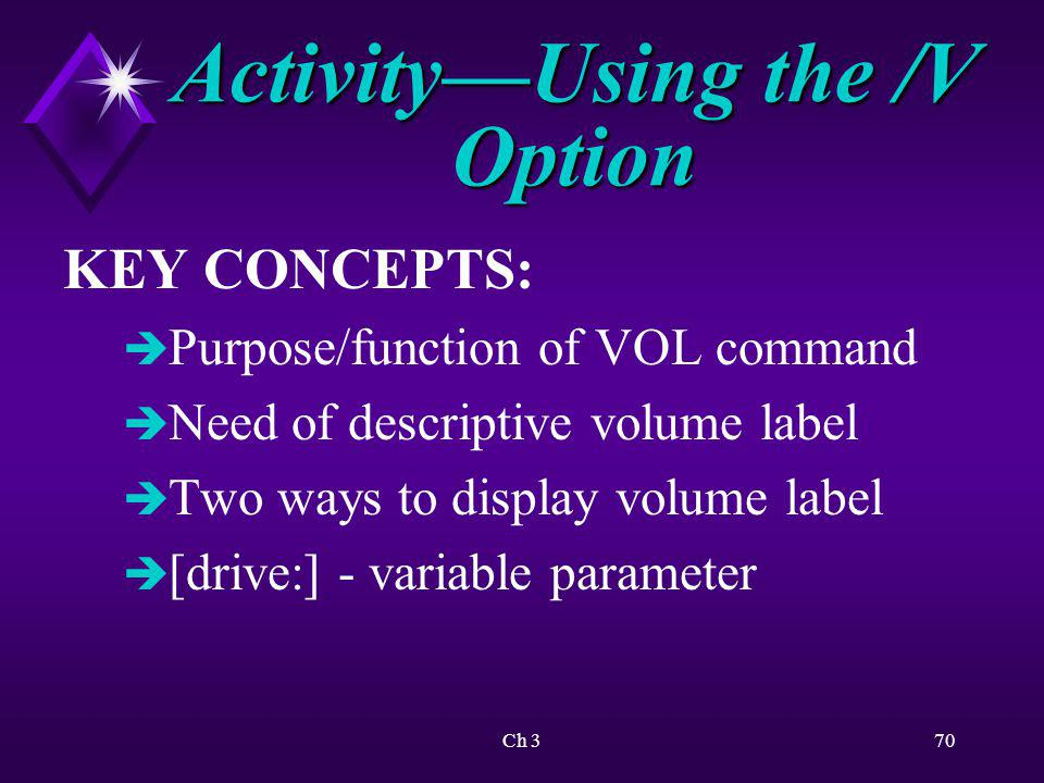 Activity—Using the /V Option