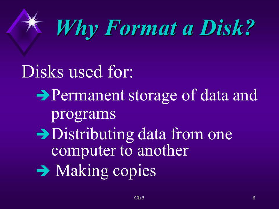 Why Format a Disk Disks used for: