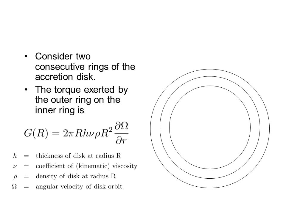 Consider two consecutive rings of the accretion disk.