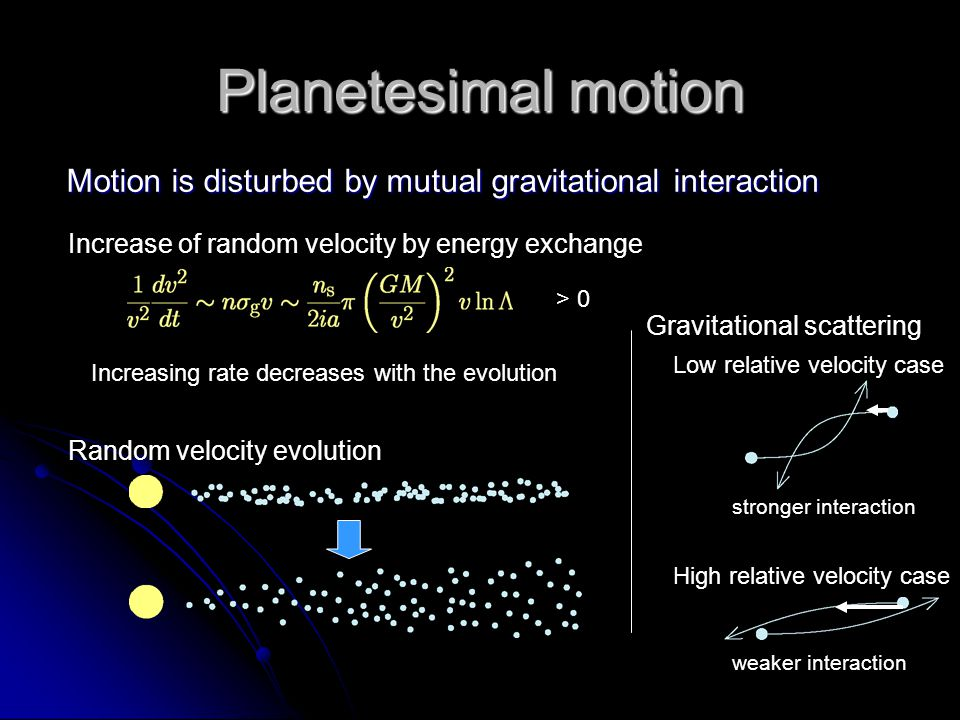 Planetesimal motion Motion is disturbed by mutual gravitational interaction. Increase of random velocity by energy exchange.