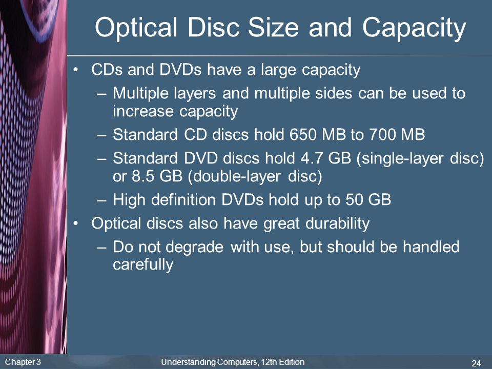 Optical Disc Size and Capacity