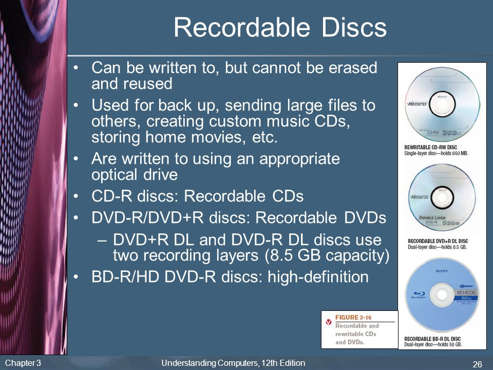 Recordable Discs Can be written to, but cannot be erased and reused