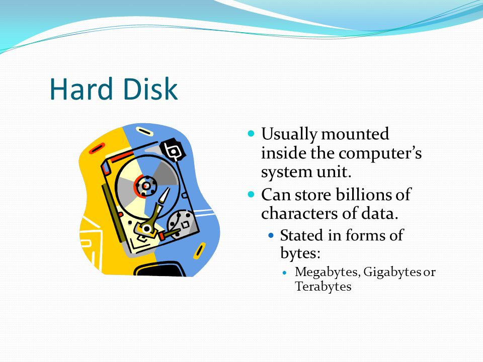 Hard Disk Usually mounted inside the computer's system unit.