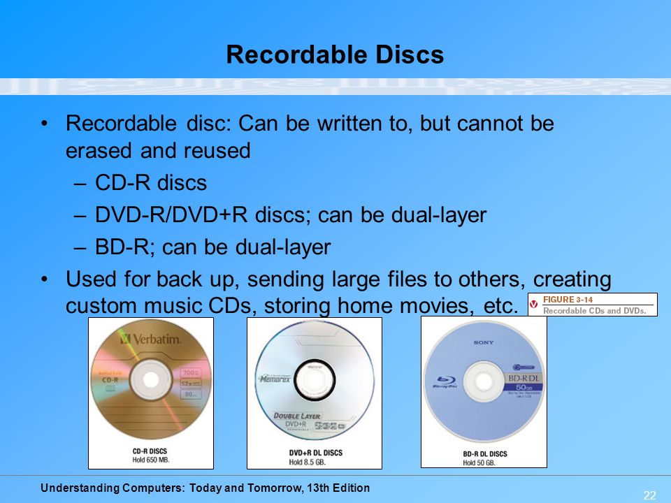 Recordable Discs Recordable disc: Can be written to, but cannot be erased and reused. CD-R discs. DVD-R/DVD+R discs; can be dual-layer.