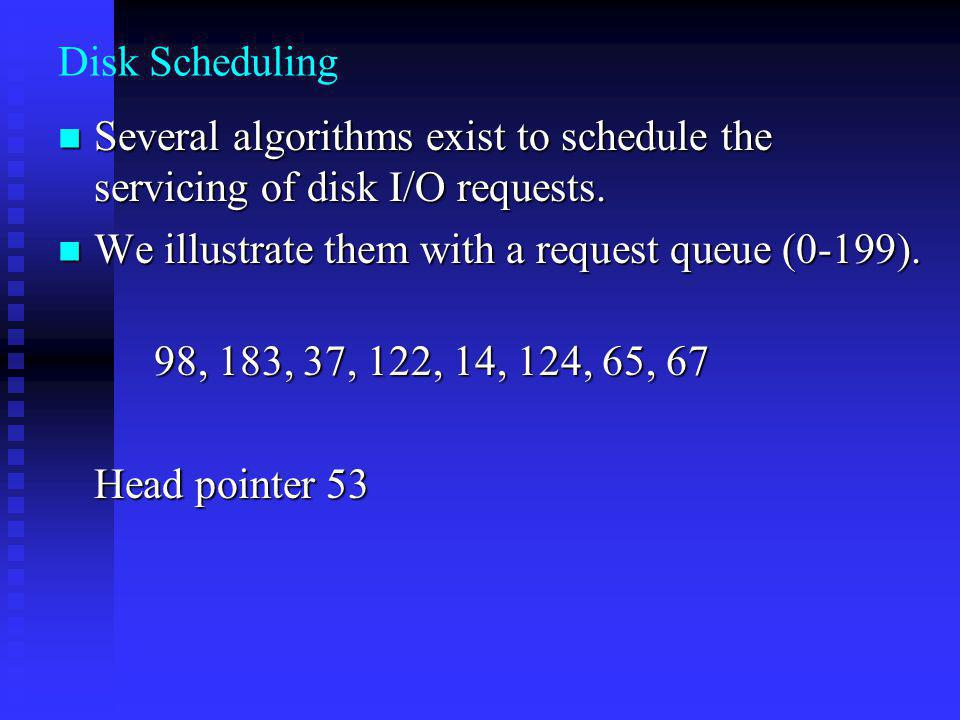 Disk Scheduling Several algorithms exist to schedule the servicing of disk I/O requests. We illustrate them with a request queue (0-199).