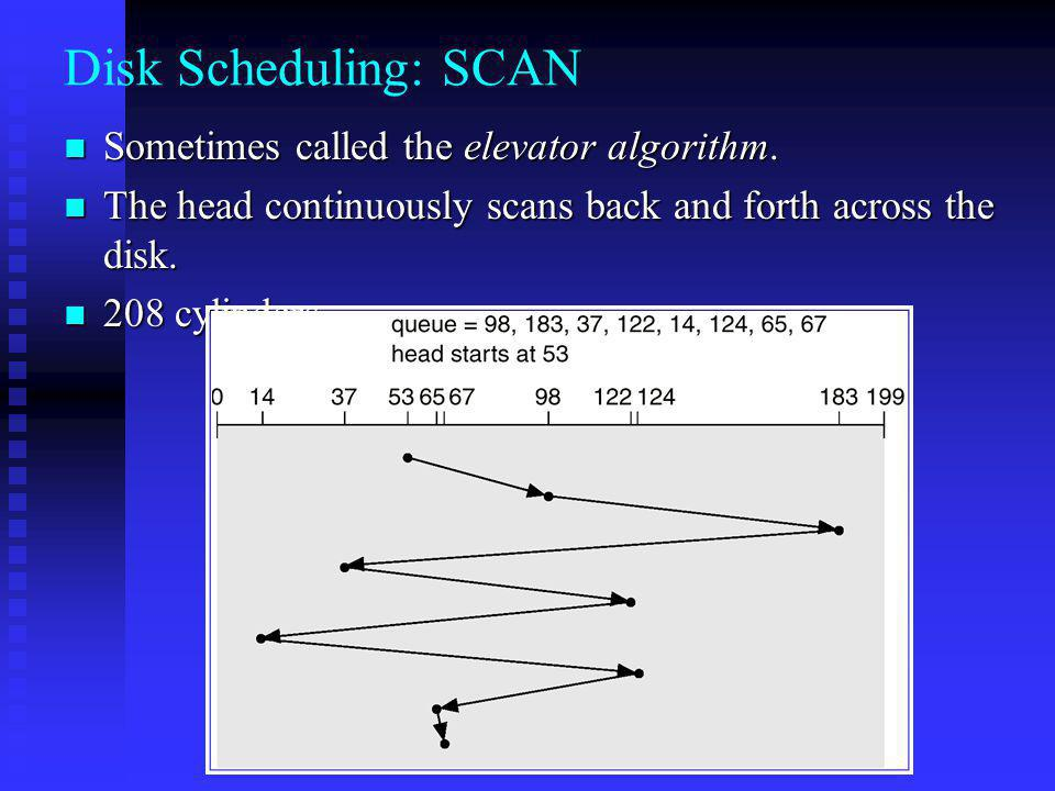 Disk Scheduling: SCAN Sometimes called the elevator algorithm.