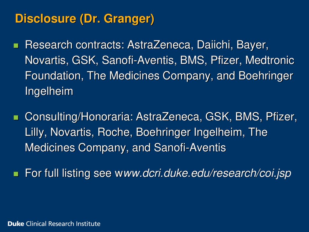Christopher Granger, MD Sean Pokorney, MD - ppt download