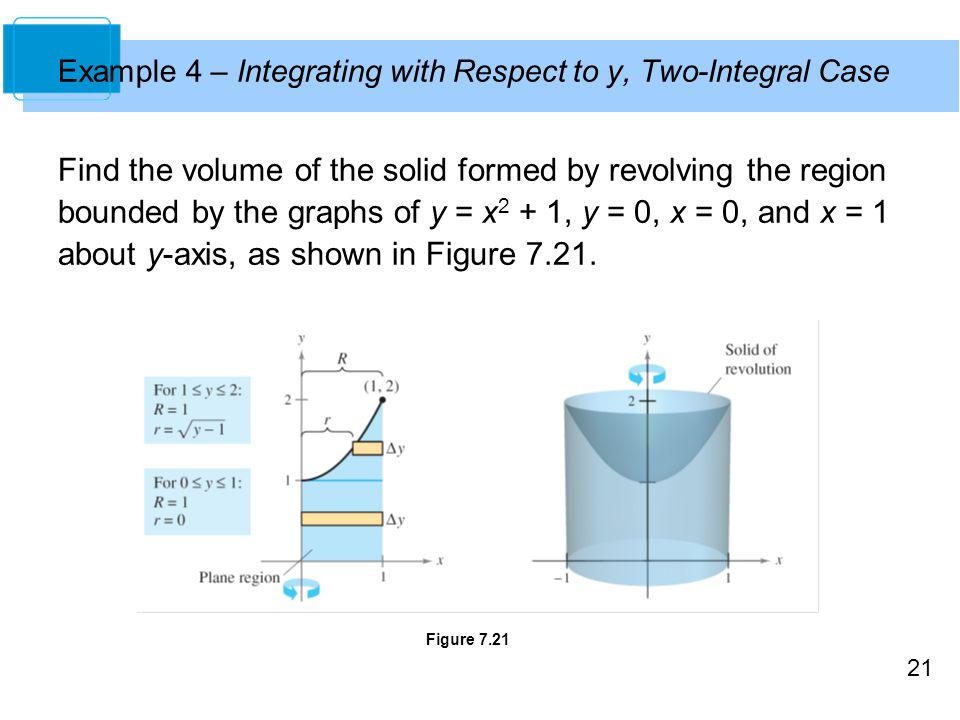Example 4 – Integrating with Respect to y, Two-Integral Case