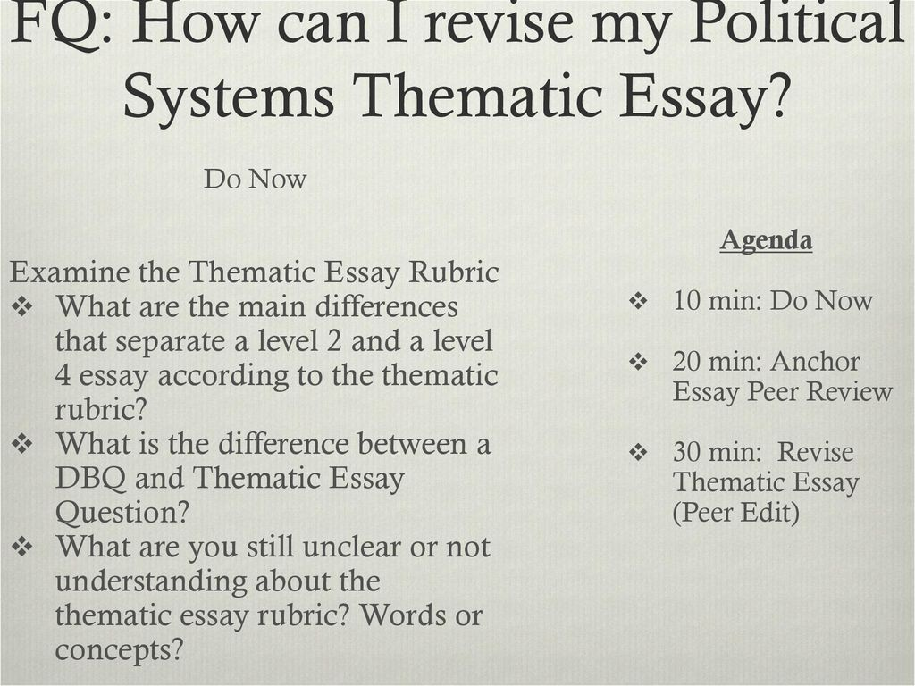Fq How Can I Revise My Political Systems Thematic Essay  Ppt Download Fq How Can I Revise My Political Systems Thematic Essay