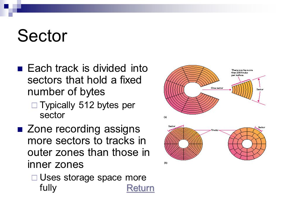 Sector Each track is divided into sectors that hold a fixed number of bytes. Typically 512 bytes per sector.