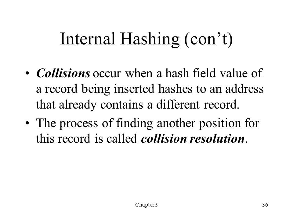 Internal Hashing (con't)