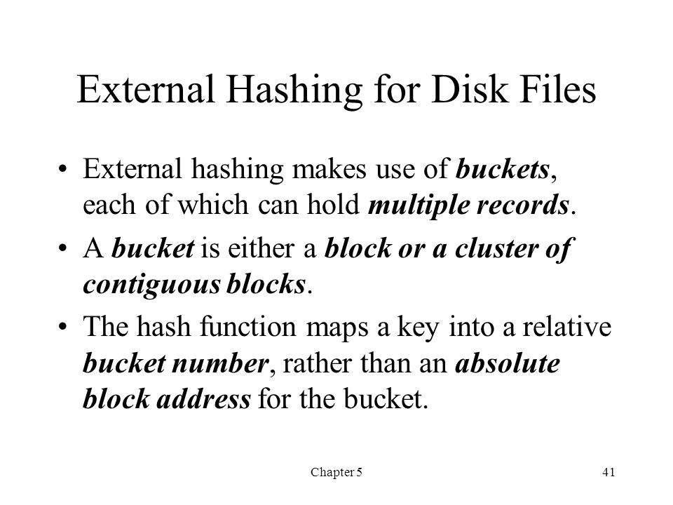 External Hashing for Disk Files