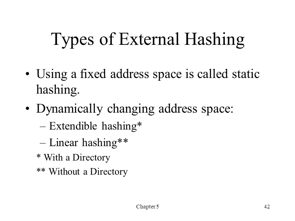 Types of External Hashing