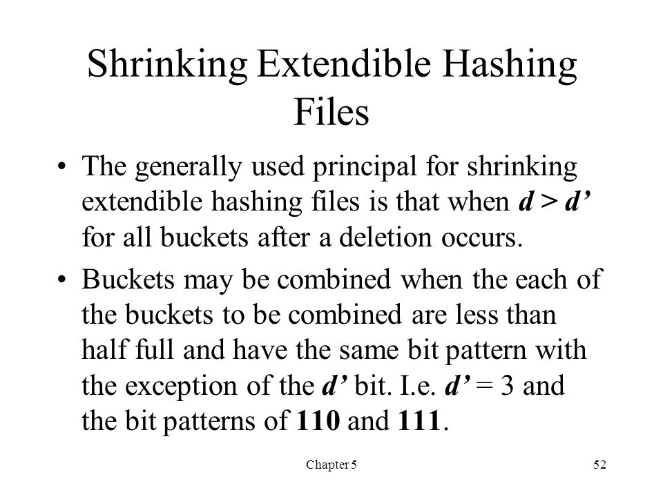 Shrinking Extendible Hashing Files