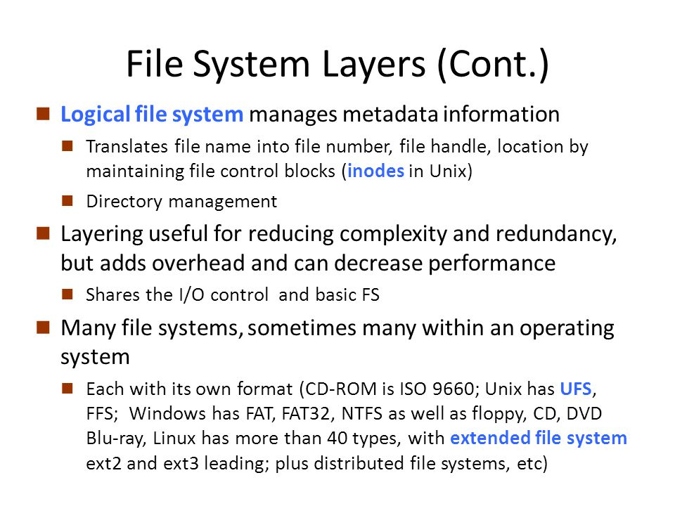 File System Layers (Cont.)
