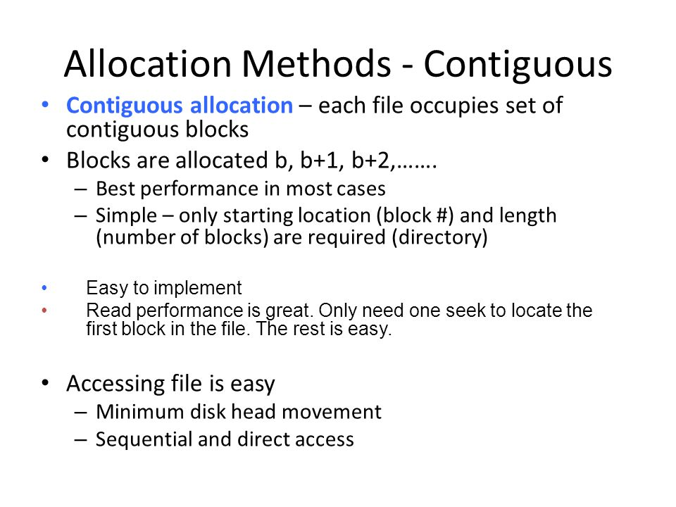 Allocation Methods - Contiguous