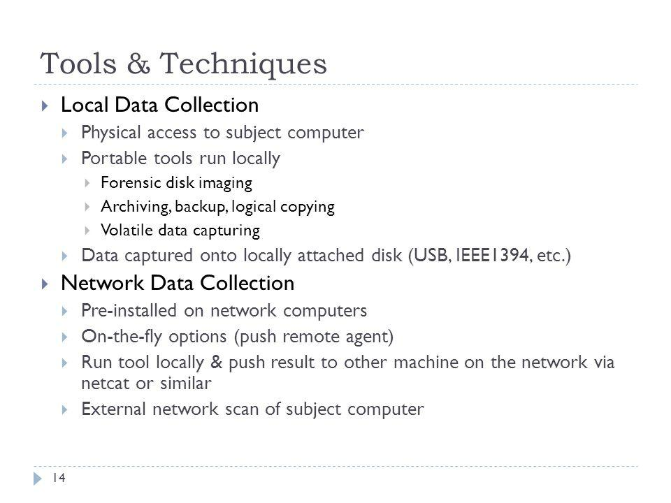 Tools & Techniques Local Data Collection Network Data Collection