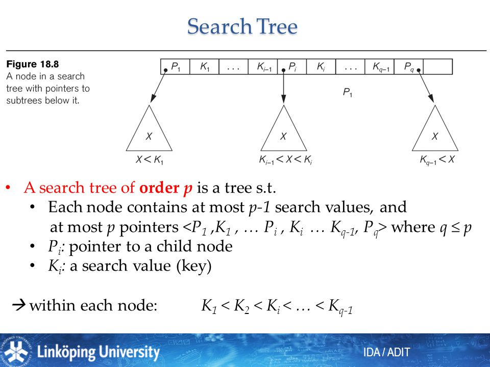 Search Tree A search tree of order p is a tree s.t.