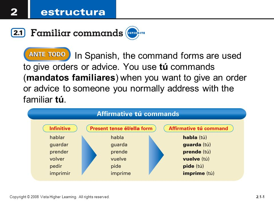 In Spanish, the command forms are used to give orders or advice