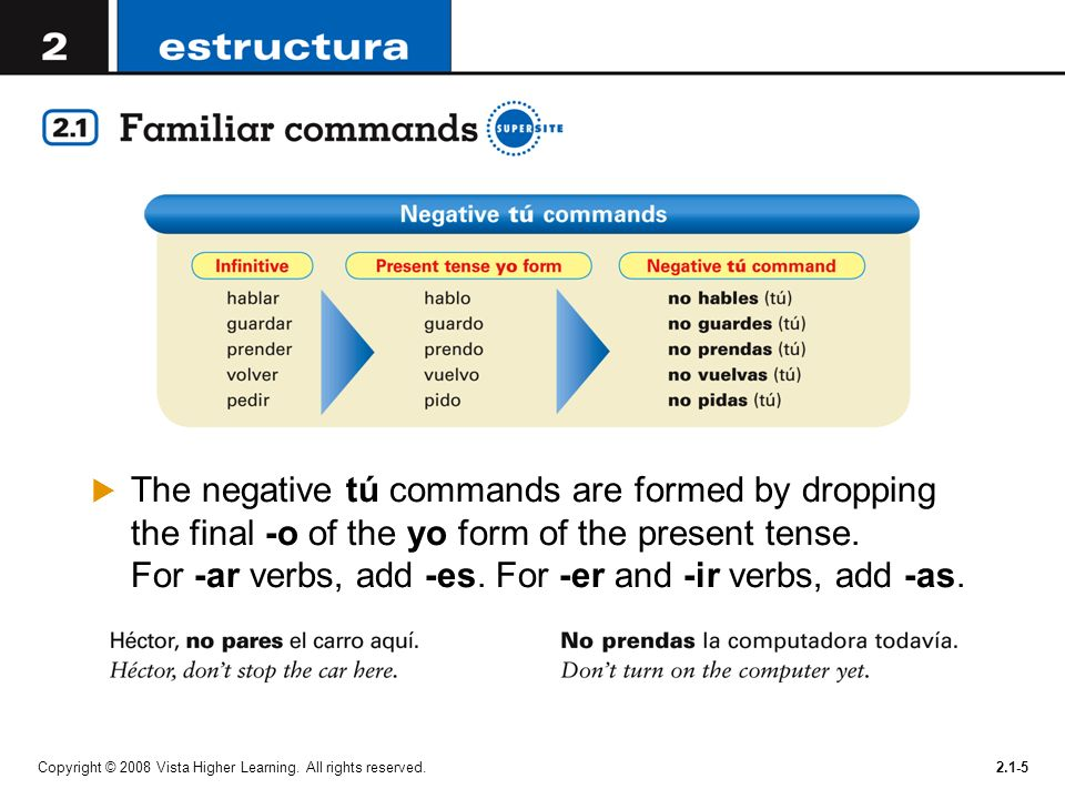 The negative tú commands are formed by dropping the final -o of the yo form of the present tense. For -ar verbs, add -es. For -er and -ir verbs, add -as.