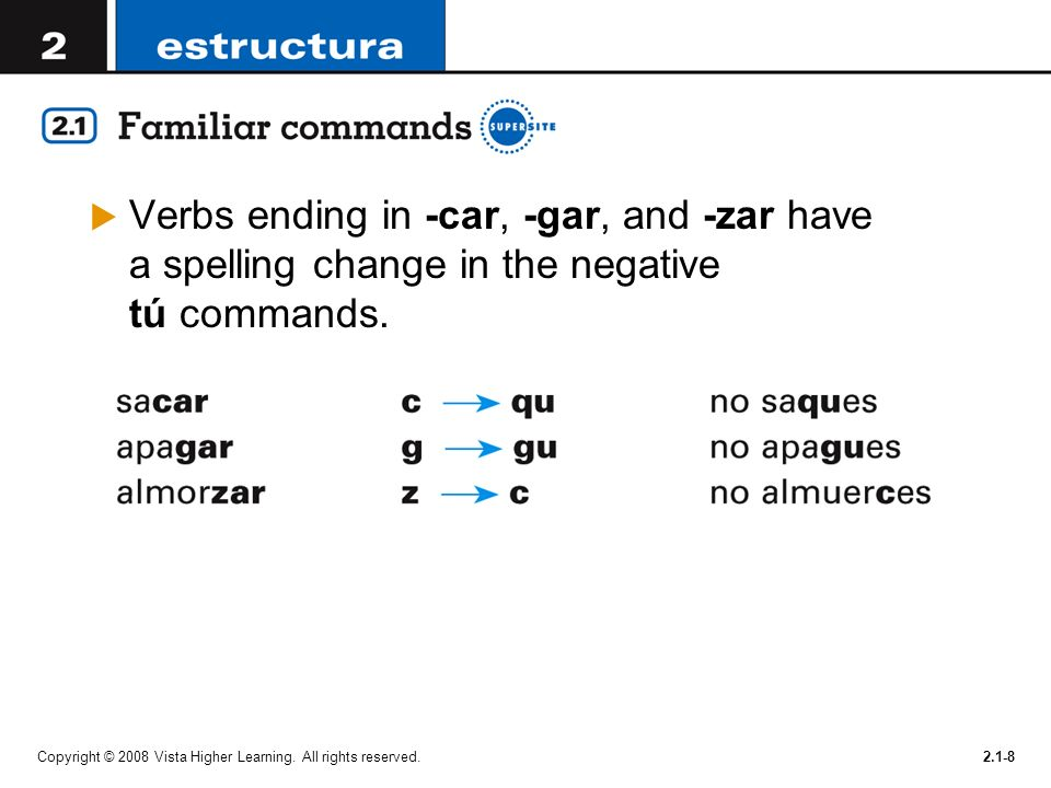 Verbs ending in -car, -gar, and -zar have a spelling change in the negative tú commands.