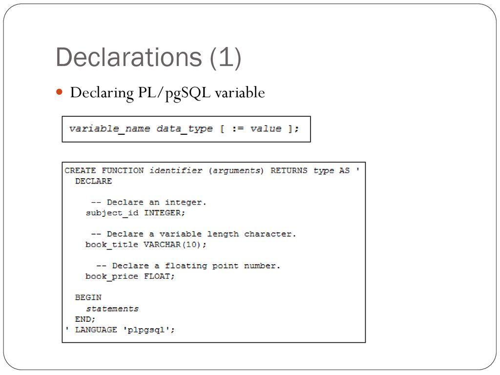 Stored Procedure used in PosgreSQL - ppt download