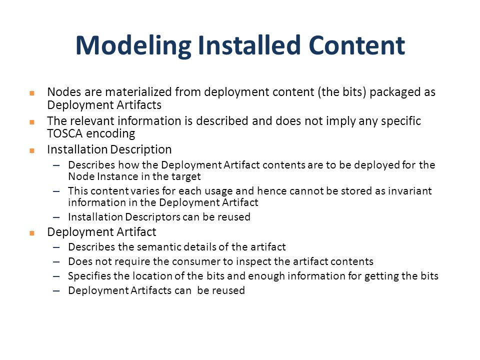Modeling Installed Content