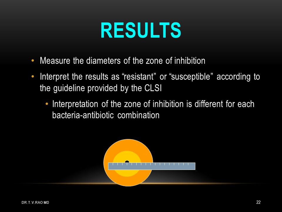 Results Measure the diameters of the zone of inhibition