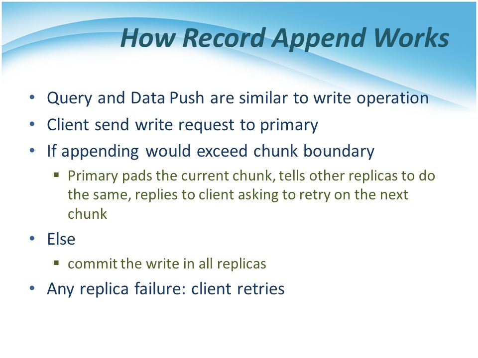 How Record Append Works