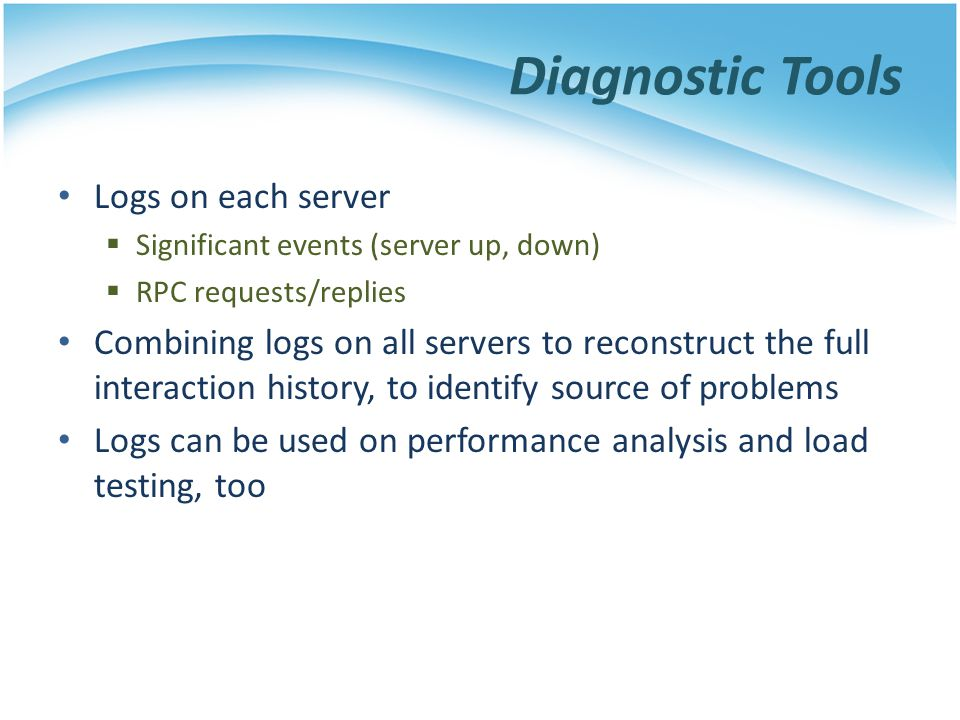 Diagnostic Tools Logs on each server