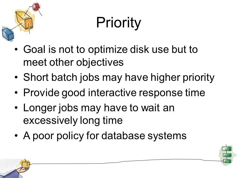 Priority Goal is not to optimize disk use but to meet other objectives