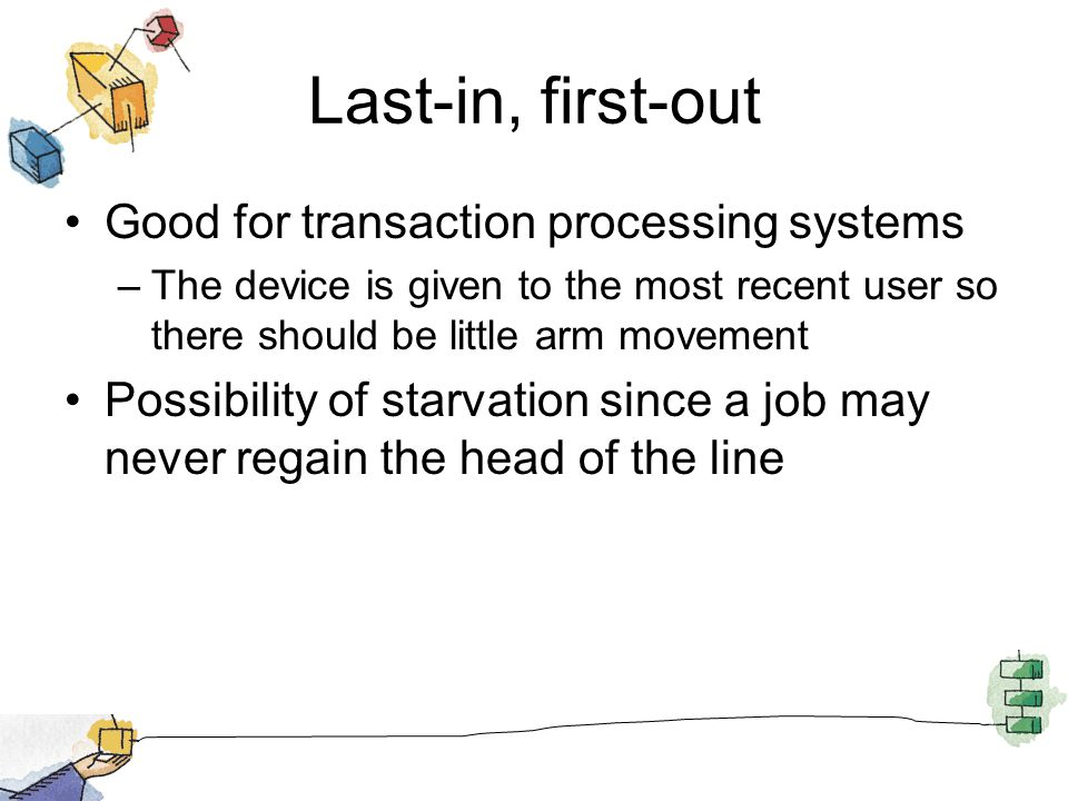 Last-in, first-out Good for transaction processing systems