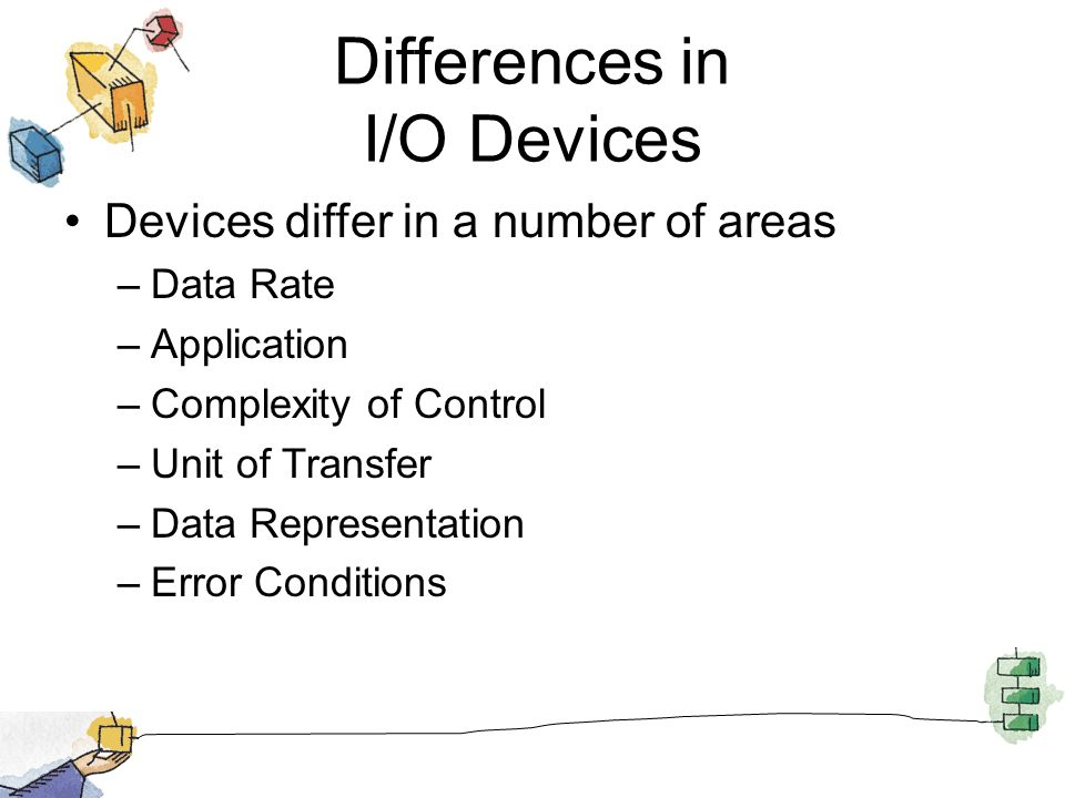 Differences in I/O Devices