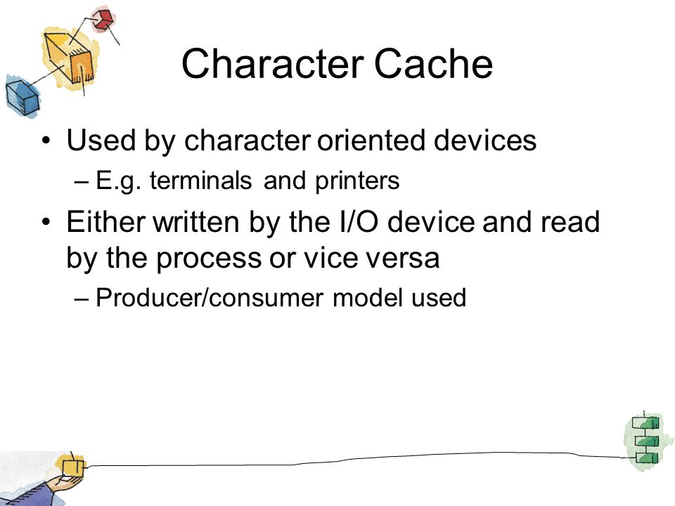 Character Cache Used by character oriented devices