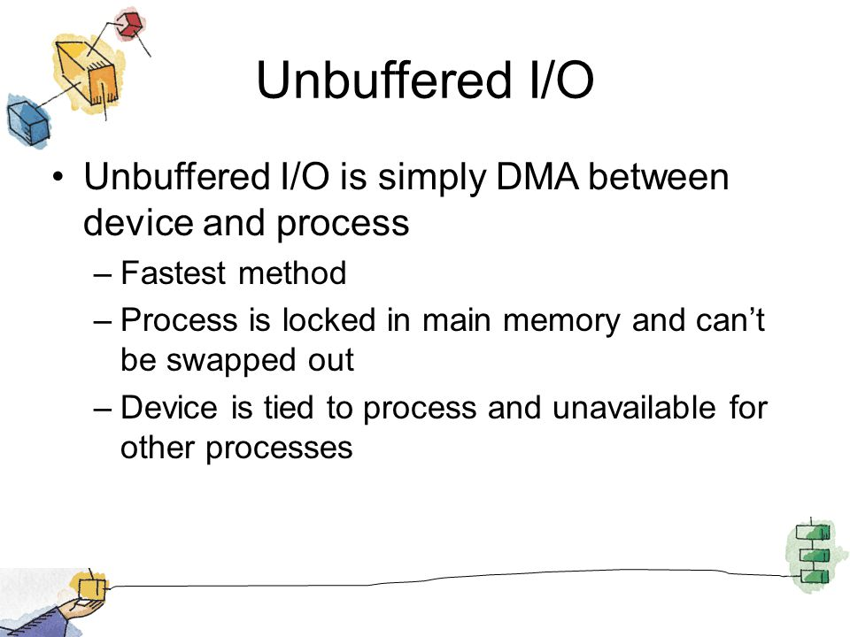 Unbuffered I/O Unbuffered I/O is simply DMA between device and process