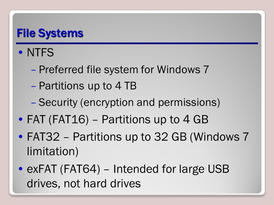 FAT (FAT16) – Partitions up to 4 GB